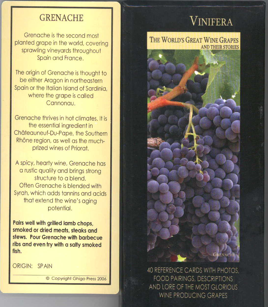 wine grapes reference cards set