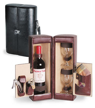 harmony leatherette 2 bottle wine tote